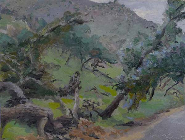 landscape painting of oak trees on a steep hill